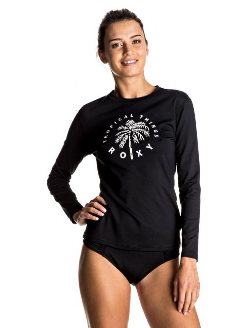 ROXY WOMENS RASH VEST.PALMS AWAY BLACK LONG SLEEVED UPF50 T SHIRT TOP 7S 133 KVJ